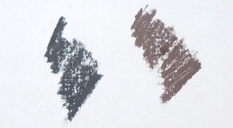 lorac waterproof eyeliner pencil swatches, ultra black swatch, chocolate swatch