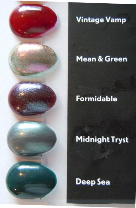 mean green, formidable, midnight tryst, deep sea, swatches, reviews, mac permanent nail collection, mac permanent nail polishes, mac nail lacquer swatches