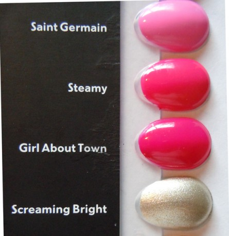 saint germain, steamy, girl about town, screaming bright, swatches, mac nail lacquer collection, mac nail polish collection