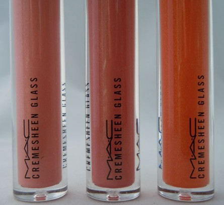 mac cremesheen glass, double happiness, dynasty at dusk, rising sun, swatches, reviews