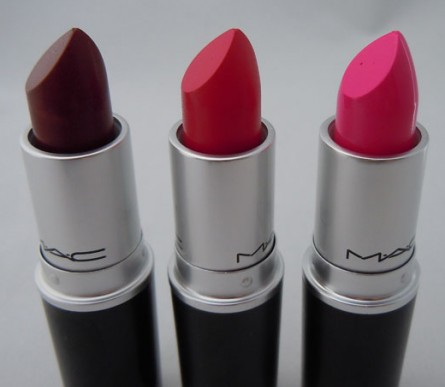 mac lipstick, rocker swatch, moxie swatch, candy yum yum swatch