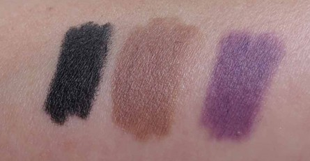 Black, Taupe, Purple Swatches:  Rimmel London Scandal'Eyes Eye Pencils, swatches, makeup blog, beauty blog, product reviews blog, makeup reviews blog