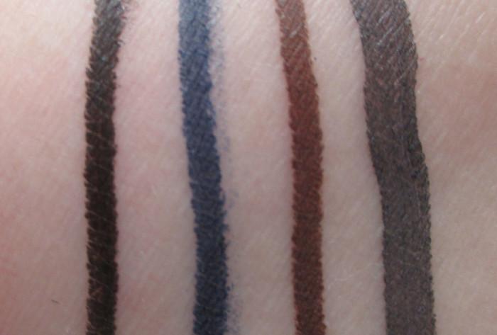 L'Oreal Matte Eyeliner Swatches: Ultra Black, Navy Matte, Deep Brown, Taupe Grey