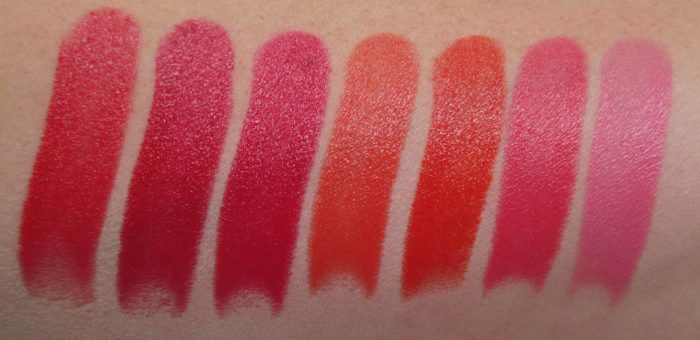 MAC Liptensity Swatches Reds