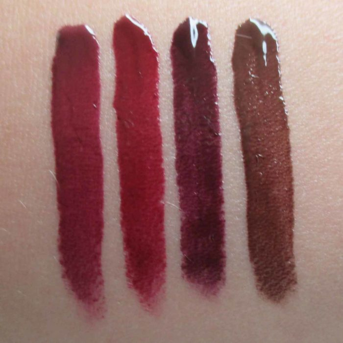 NARS Velvet Lip Glide Swatches: Unspeakable, Deviant, Toy, and Area