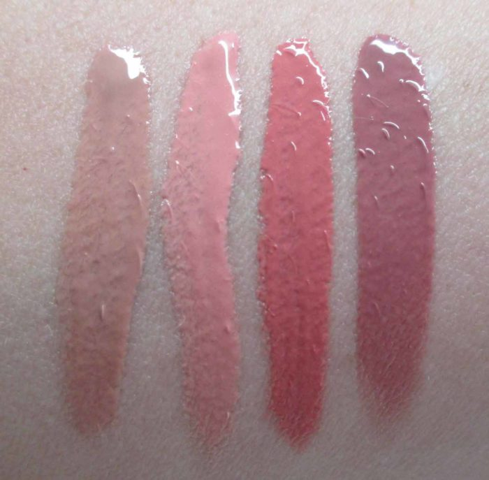 NARS Velvet Lip Glide Swatches: Stripped, Unlaced, Playpen, and Bound.