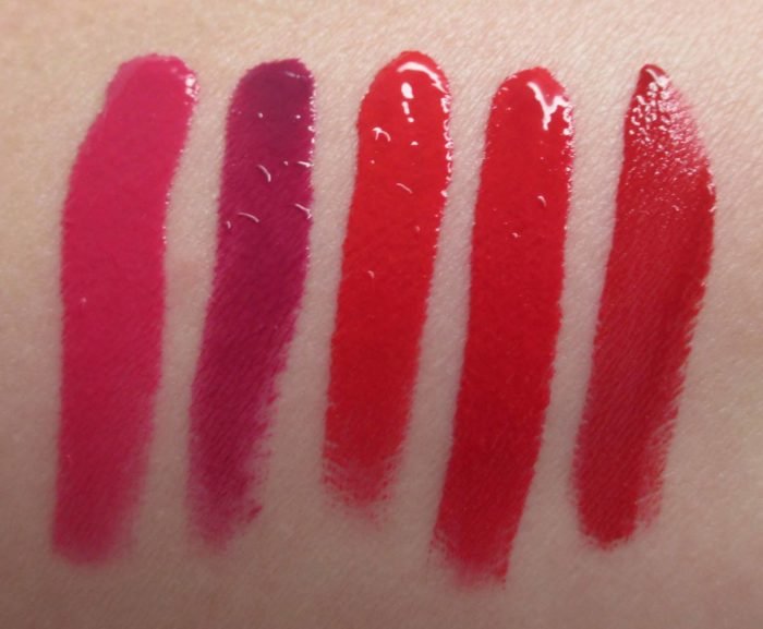 NARS Velvet Lip Glide Swatches: Danceteria, La Main Bleue, Mineshaft, No. 54, and Le Palace.