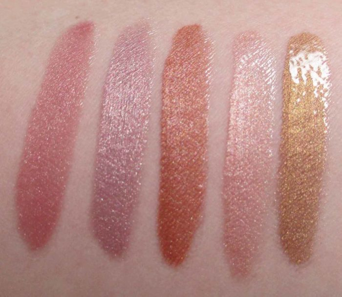 Lancôme Le Metallique Swatches: Magnetic Mauve, Lavender Patina, Iron Nude, Mirrored Nude, Brushed Gold