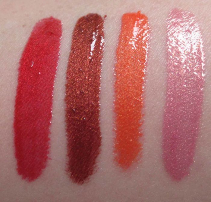 Lancôme Le Metallique Swatches: Rose Magma, Cuivre Casting, Orange Ore, and Polished Rose