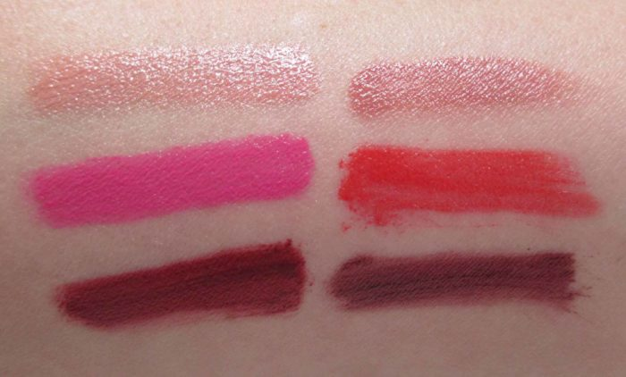 MAC Diane Kendal, Enhance Me Swatches: Valiant, Marvelous, Heavenly, Contrary, Fiery, Petulant