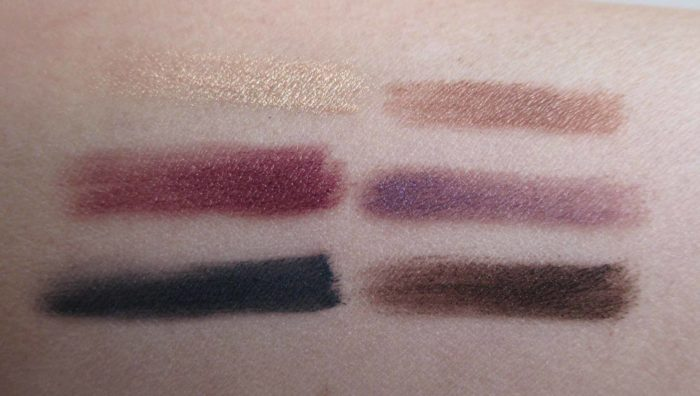 MAC Glamorize Me Swatches: Glowing, Dynamic, Enigmatic, Alluring, Daring, and Rebellious