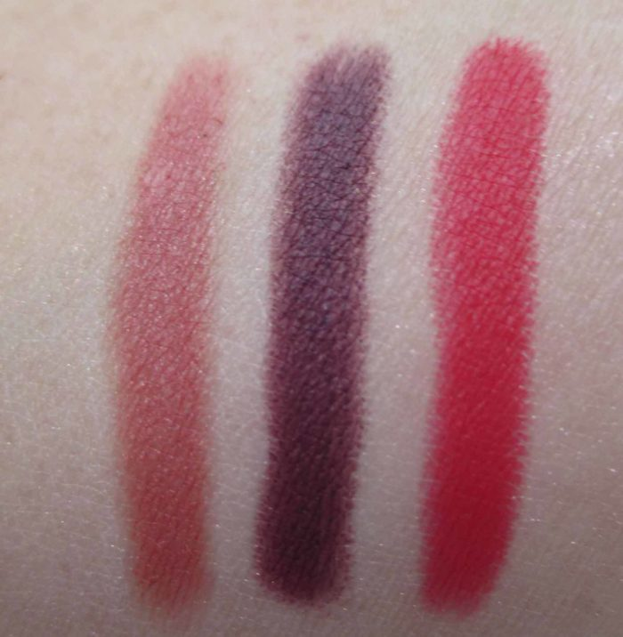 Intriguing, Dirty Mind, and Famous Red Swatches, NARS Velvet Matte Lip Pencils