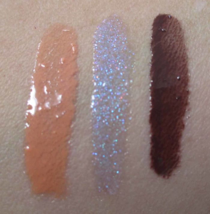 Blissful, New Galaxy, Chestnut MAC Lipglass Swatches